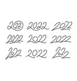 set of 2022 calligraphic numbers editable stroke vector image