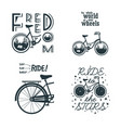 set prints with bicycle slogan for t-shirt vector image vector image
