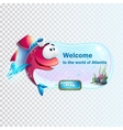 The boot screen fish with rocket vector image vector image