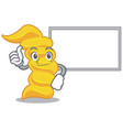 thumbs up with board fusilli pasta character vector image vector image