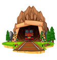 train ride on the track through tunnel vector image vector image