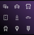transportation icons line style set with missile vector image