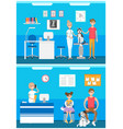 veterinarian clinic reception patients with pets vector image vector image