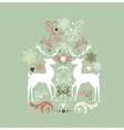 Vintage Merry Christmas decoration with reindeers vector image vector image
