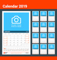 wall calendar for 2019 year design print template vector image vector image