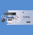 web site design development program coding concept vector image vector image