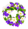 Wreath of woodland violets and primula vector image vector image