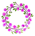 Pink Flower watercolor wreath for beautiful design vector image