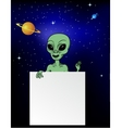 Alien with blank sign vector image
