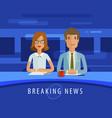 breaking news anchorman on tv broadcast vector image