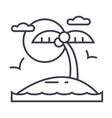 tropical beach island line icon sign vector image