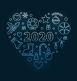 2020 merry christmas heart blue thin line vector image vector image