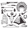 american indian hunter attributes and weapons vector image