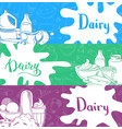 banners with lettering and hand drawn dairy vector image vector image