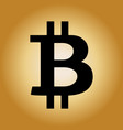 black bitcoin sign icon on radial gradient golden vector image