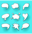 Blue pop art speech bubbles set