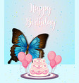 butterfly on birthday frame vector image