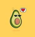 cartoon funny avocado icon with black vector image