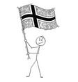 cartoon of man waving the flag of kingdom vector image
