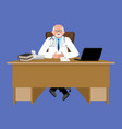 chief doctor at desk medical office physician vector image