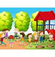 Children having fun in the park vector image vector image