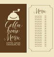 Coffee house menu with price list and coffee mill