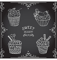 collection of vintage cupcake hand drawn chalk vector image vector image