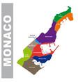 colorful principality monaco administrative map vector image vector image