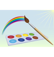 Colour-box rainbow brush and sun vector image vector image