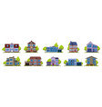 cottage houses suburban real estate modern vector image