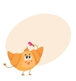 Cute and funny croissant character combing its vector image vector image