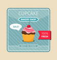 cute card brown cupcake with cherry vector image vector image