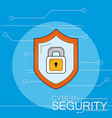 cyber security emblem vector image vector image