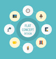 flat icons armchair watch tea and other vector image vector image