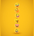 fun yellow 3d emoticon face icons in funny tower vector image vector image