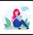 girl sit with a tablet on ground in a park vector image vector image