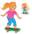 girl skateboarding vector image vector image