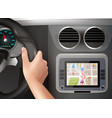 gps navigation in car vector image vector image