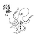 hand drawn octopus sketch wild sea life creature vector image vector image