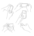 Hand holding smartphone sketch vector image vector image