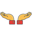 hands support concept line icon editable vector image vector image