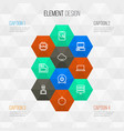 hardware outline icons set collection of power vector image vector image