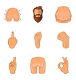 human form icons set cartoon style vector image