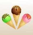 Ice cream three cone vector image