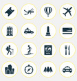 journey icons set with restaurant airplane vector image