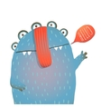kind and cute funny monster saying hello waving vector image vector image
