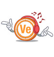 listening music veritaseum coin mascot cartoon vector image vector image