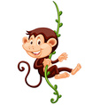 Little monkey climbing up the vine vector image vector image
