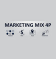marketing mix 4p banner for business and vector image vector image