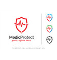 medic protect logo template vector image vector image